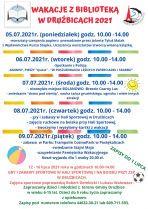 Plakat informujący oWakacjach zBiblioteką wDrużbicach 2021